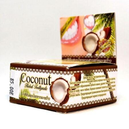 Тайская отбеливающая зубная паста с кокосом Rochjana ॐ Бутик ROSA